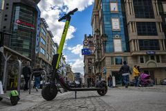 Poland, Wroclaw, May 3, 2019 - Electric kick modern scooter in Wroclaw city. Eco alternative transport concept stock photo
