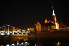 Poland , Wroclaw , night time ! royalty free stock photos