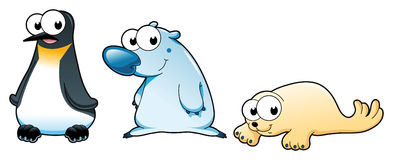 Polar animals. Polar bear, penguin and seal