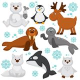 Polar animals and arctic fish cartoon characters. Vector funny isolated icons of polar owl, reindeer, orca killer whale and seal or walrus, north pole white Stock Photos