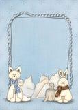 Polar animals with frame Royalty Free Stock Photos