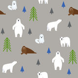 Polar animals on a gray background. Seamless pattern. Seamless pattern. Polar animals on a gray background vector illustration