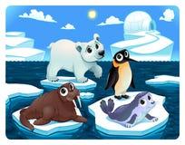 Polar animals on the ice. Vector and cartoon illustration stock illustration