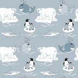 Polar Animals seamless pattern Stock Image