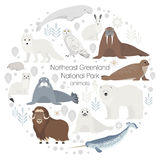 Polar animals. Vector circle animal set.  Stock Images
