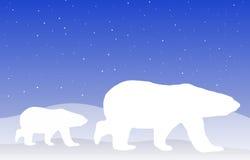 Polar Bear. An illustration of a polar bear on a blue background Stock Photo
