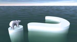 Polar Bear Extinct. Polar Bear adrift on the last bit of ice Stock Image