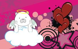Polar bear angel cherub baby cartoon cloud background Stock Image