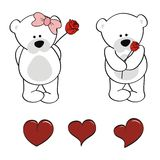 Polar bear baby cartoon valentine rose set Stock Photos
