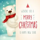 Polar Bear with big signboard. Merry Christmas calligraphy lettering design. Creative typography for holiday greeting. royalty free illustration