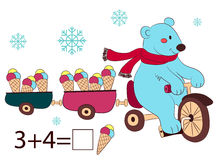 Polar bear on bike and ice cream, kids layout for game Royalty Free Stock Image