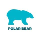 Polar bear. Blue polar bear icon on dark background Royalty Free Stock Images