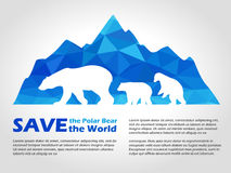 Polar bear on Blue low poly ice mountain vector art design Royalty Free Stock Image
