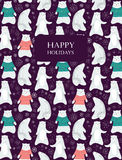 Polar bear card. Card with cute polar bears and snowflakes. Bear in sweater. Seamless pattern is masked. Vector illustration vector illustration
