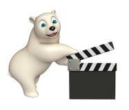 Polar bear cartoon character with clapboard. 3d rendered illustration of Polar bear cartoon character with clapboard Stock Photo