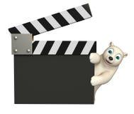 Polar bear cartoon character with clapboard. 3d rendered illustration of Polar bear cartoon character with clapboard Stock Image
