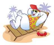 Polar bear cartoon enjoying the holiday Stock Image