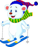 Polar bear cartoon skiing Royalty Free Stock Photography