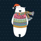 Polar Bear. Christmas card . Stock Images