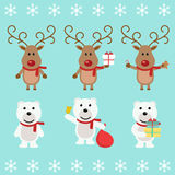 Polar bear  and Christmas reindeer. Funny cartoon character. Vector illustration. Isolated on white background Stock Photography