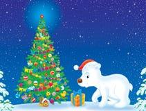 Polar Bear and Christmas tree Royalty Free Stock Photography