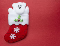 Polar Bear in a Christmas vibe. Christmas scenery photo with plenty of space for writing your best wishes Stock Photo