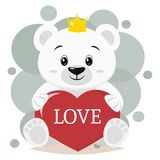 Polar bear in the crown sits and holds in the paws a red heart with the inscription love, in the style of cartoons. Cute polar bear in the crown, sits and holds Royalty Free Illustration