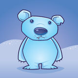 Polar Bear Cub. Cute polar bear cub standing in a snow covered landscape drawn in a humorous cartoon style royalty free illustration