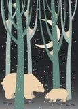 Polar bear and cub in the forest. Vector polar bear and cub in the forest Stock Illustration