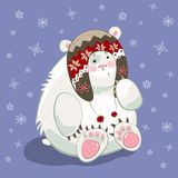 Polar bear cub. Small polar bear cub cartoon character wearing norvegian hat Royalty Free Illustration