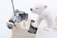 Polar bear cub in on the typewriter. Polar bear cub on the roof of a model house mado of roof Stock Photography