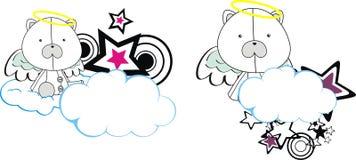 Polar bear cute baby plush angel cartoon cloud Royalty Free Stock Photos