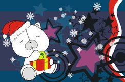 Polar bear cute cartoon xmas claus costume background Stock Photos