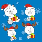 Polar bear cute cartoon xmas claus costume set Royalty Free Stock Image