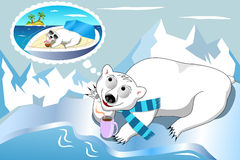 Polar Bear Daydreaming Royalty Free Stock Photos