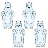 Polar bear with different facial expressions Royalty Free Stock Image