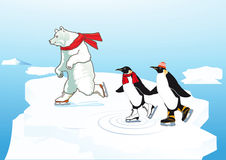 Polar Bear and Penguins Ice Skating Stock Images