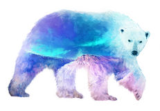 Polar bear double exposure illustration. The polar bear on white background double exposure illustration. Retro design graphic element. This is illustration Royalty Free Stock Images