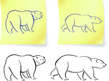 Polar bear drawings on post it notes Royalty Free Stock Image