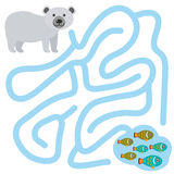 Polar bear and fish on white background  labyrinth game for Preschool Children. Vector Royalty Free Stock Image