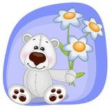 Polar Bear with flowers Stock Photo