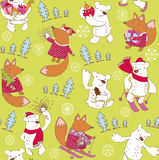 Polar bear and fox with gifts pattern Stock Photos