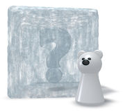 Polar bear and frozen question mark Stock Image