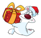 Polar bear and gift box Royalty Free Stock Images