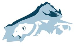 Polar bear head and mountains Stock Photos