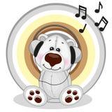 Polar Bear with headphones Stock Photos