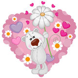 Polar Bear with hearts and flower Royalty Free Stock Photos