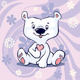 Polar Bear hold hear sitting on abstract floral purple vector Royalty Free Stock Image