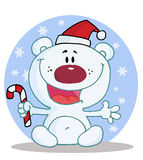Polar bear holding a candy cane. Joyous christmas polar bear holding a candy cane in the snow vector illustration