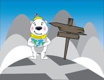 Polar bear holding map Royalty Free Stock Image